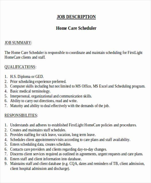 Patient Care Coordinator Job Description Resume Unique Scheduling Coordinator Job Description Sample 8 Examp Nurse Job Description Nursing Jobs Coordinator Job