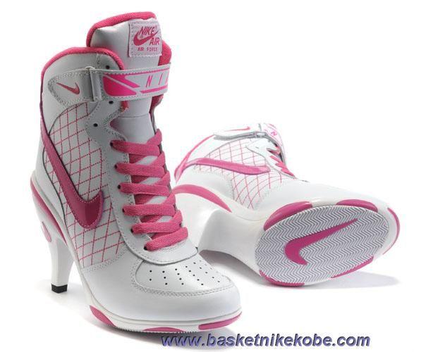 Femmes Nike Air Force High Heels Blanc Rose Sortie