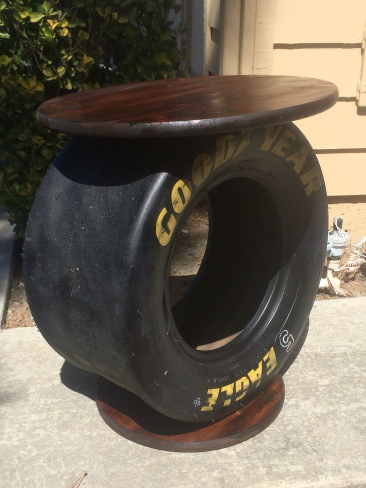 NASCAR tire from Sonoma Race turned into a side table.