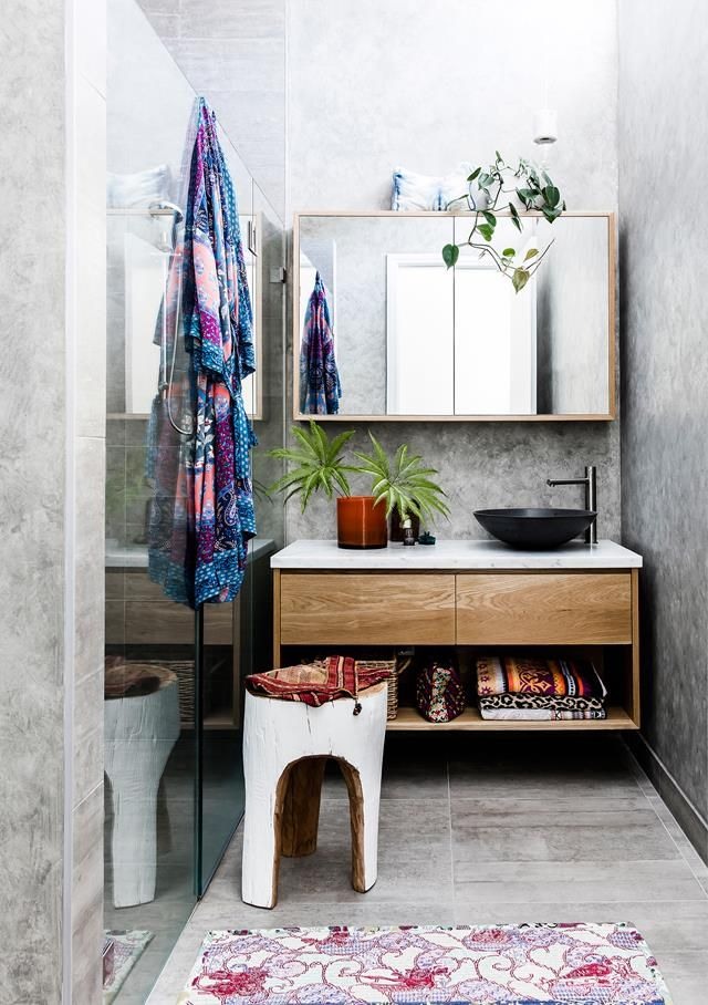 Concrete bathroom from a global-inspired home in inner-city Sydney. Photography: Maree Homer | Styling: Louella Tuckey