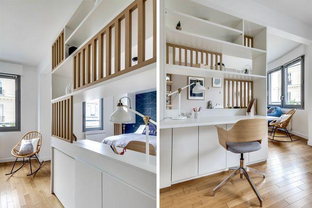 Claustras en bois entre la chambre et l'espace bureau