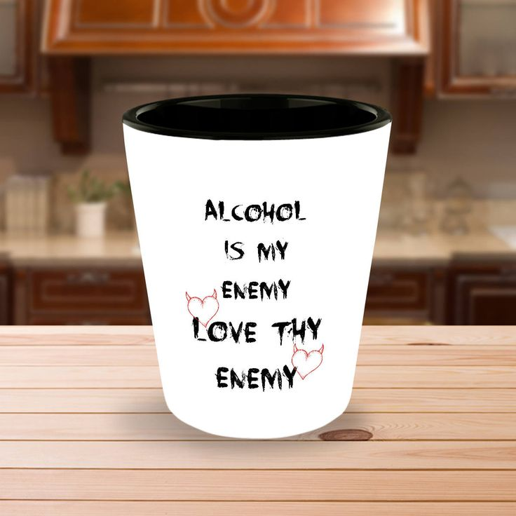 Funny Shot Glasses Gift - Alcohol is My Enemy - Love Thy Enemy - Hearts with Devil Horns - Drinking Liquor - Single Glass or Set of 2 by DesignsbyTenaT on Etsy