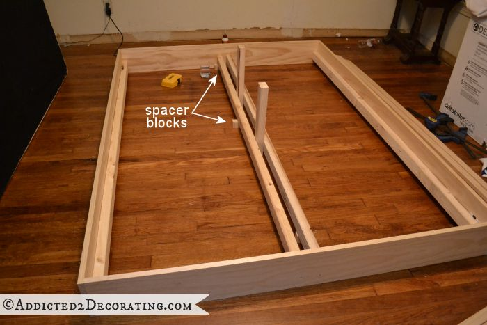 Diy Stained Wood Raised Platform Bed Frame Part 1
