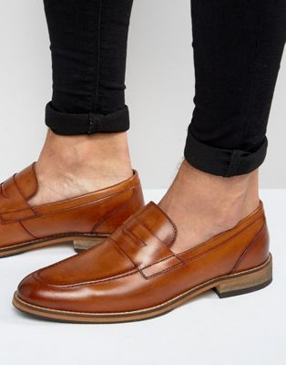ASOS Loafers in Tan Leather With Natural Sole