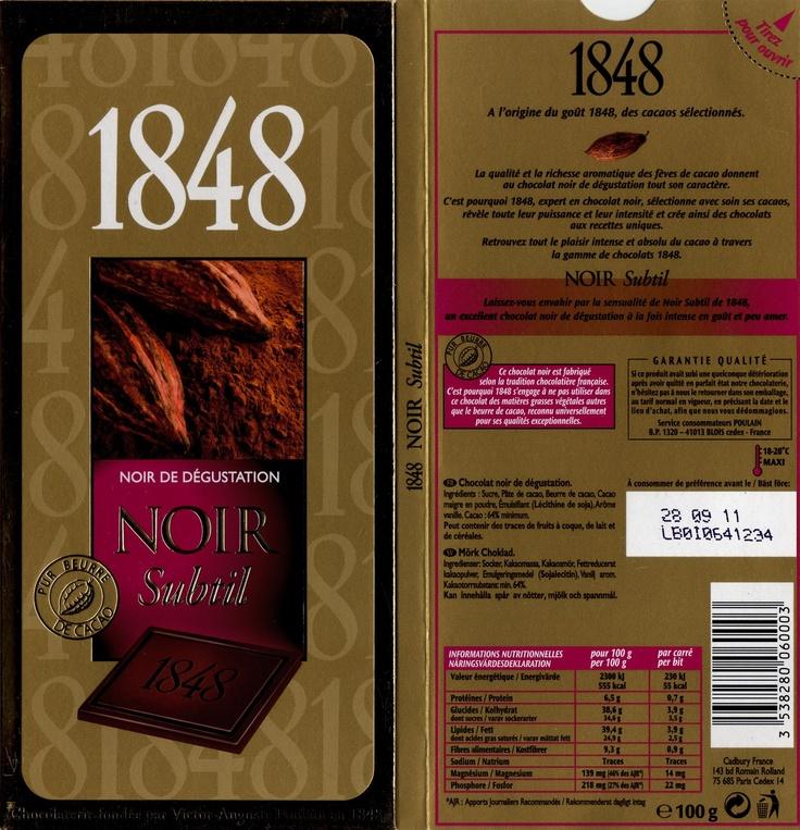 tablette de chocolat noir dégustation poulain 1848 noir de dégustation subtil 64