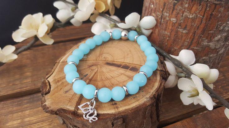 Bracelet mala/ quartz aiguemarine/ billes acier inoxydable/ bracelet breloque Love/ bracelet femme/ bracelet yoga/ bracelet énergie/ boho de la boutique CreationL sur Etsy