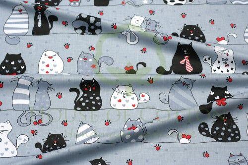 Bawełna wyluzowane koty szare