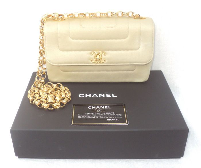 Catawiki online auction house: Chanel - Timeless Golden Sand Satin Single Flap CC Turn Lock Hand Bag
