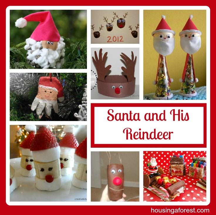 Santa and His Reindeer Christmas Fun; cute banana Santa treats #housingaforest #christmas #kids crafts