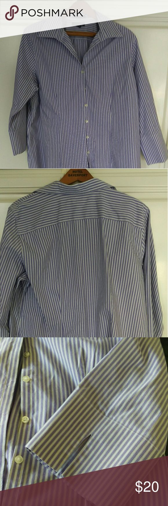 Land's End Women's  Purple Stripe Cotton Oxford Purple and white stripe 100% cotton size 16 ,3/4 sleeve Lands' End Tops Button Down Shirts
