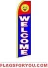 Welcome (Yellow Sleeve) Feather Flag 2.5' x 11.5'