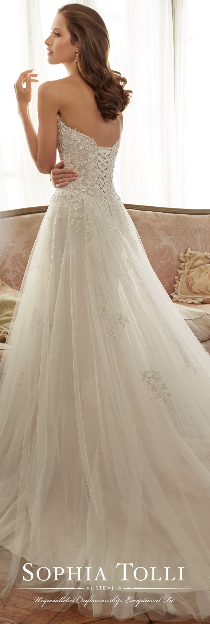 Sophia Tolli Spring 2017 Wedding Gown Collection - Style No. Y11706 Harriet - strapless tulle wedding dress with hand-beaded lace appliqued bodice
