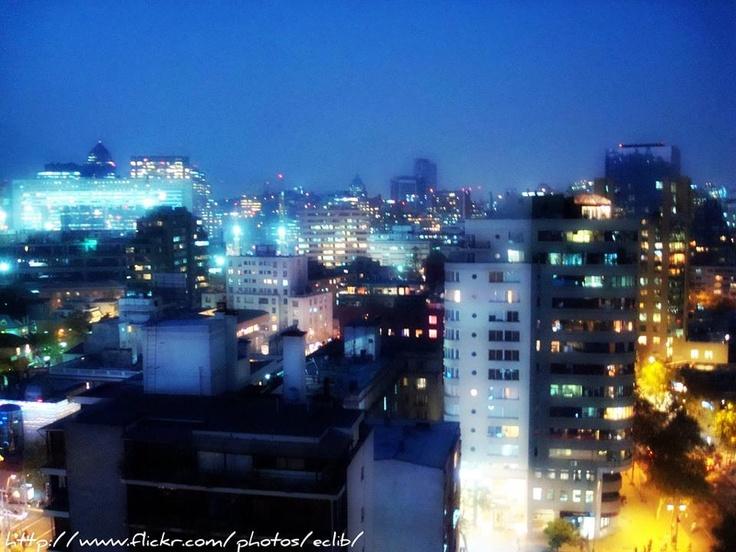 Pretty night-time Santiago, Chile.