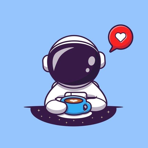 Download Cute Astronaut Drinking Coffee Cartoon Vector