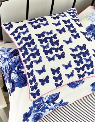 Joules Floral Butterfly Cushion, Deep Blue.