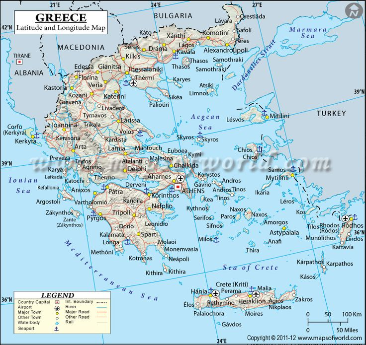 Degree Of The Ocean And Efficient N: Greece Latitude And Longitude Map