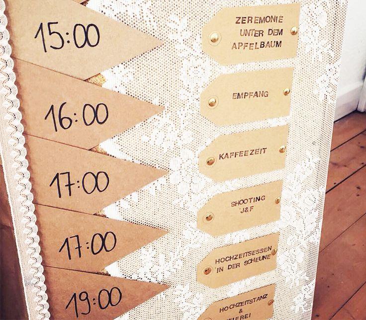 Tagesplan / Ablaufplan Hochzeit Vintage DIY Kraftpapier