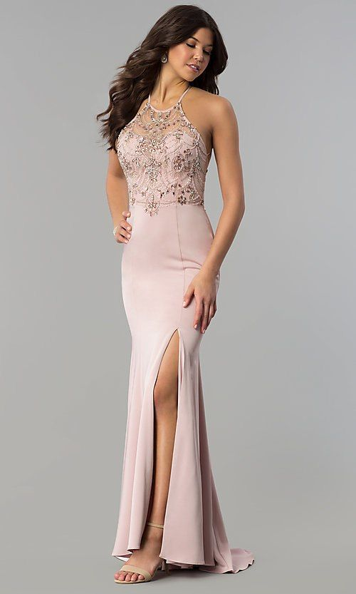 dc4a903e7d4 Image of long beaded illusion-sweetheart prom dress. Style  DQ-2200 Front  Image