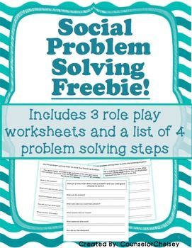 3 FREE social problem solving role play worksheets to help students use a 4-step process to solving their problems instead of reacting to them!  Includes 3 role play worksheets to help students practice these 4 steps! Can be used in individual or group sessions.  Download at:  https://www.teacherspayteachers.com/Product/Social-Problem-Solving-Worksheets-Free-2415388