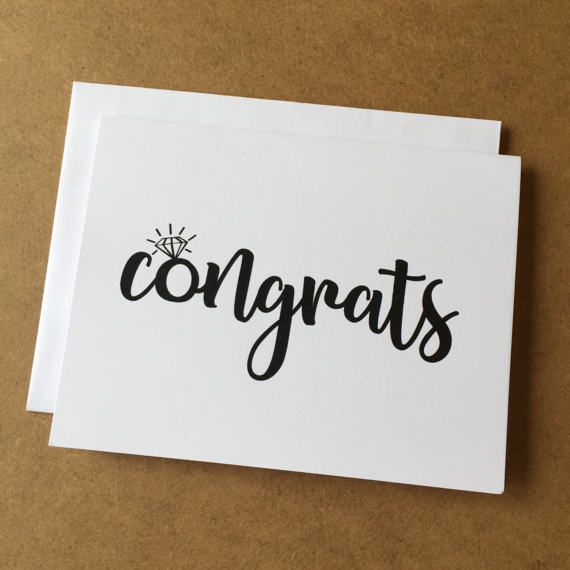 Engagement Card - Congrats Card - Engagement Ring - Black and White - Classic - Engagement Gift - Wedding Card - Congratulations Card
