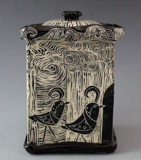 Patricia Griffin, Lidded Box - Woodcut Series