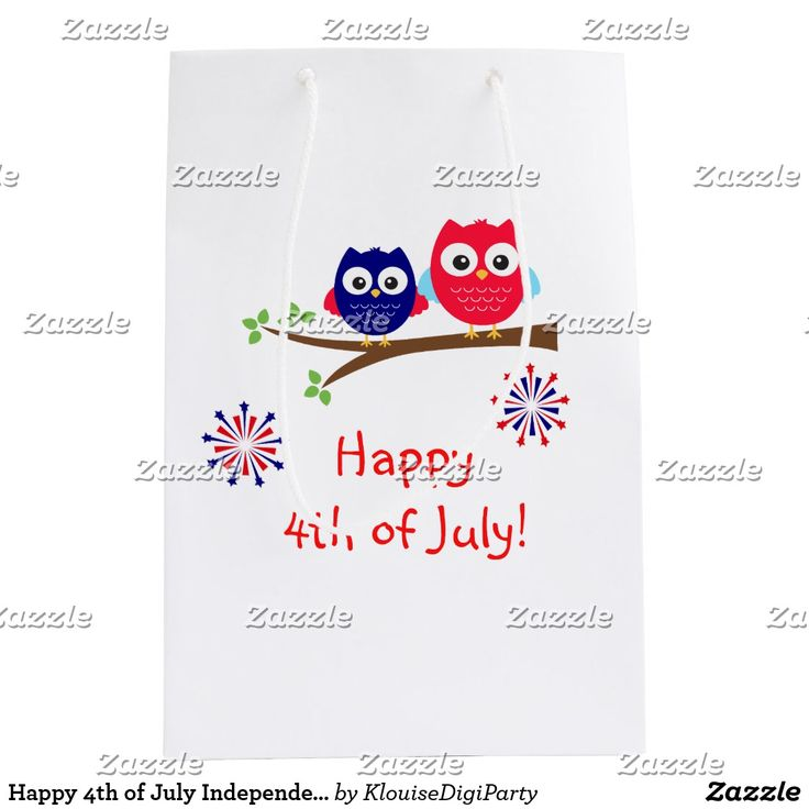 Happy 4th of July Independence Day Owls Medium Gift Bag