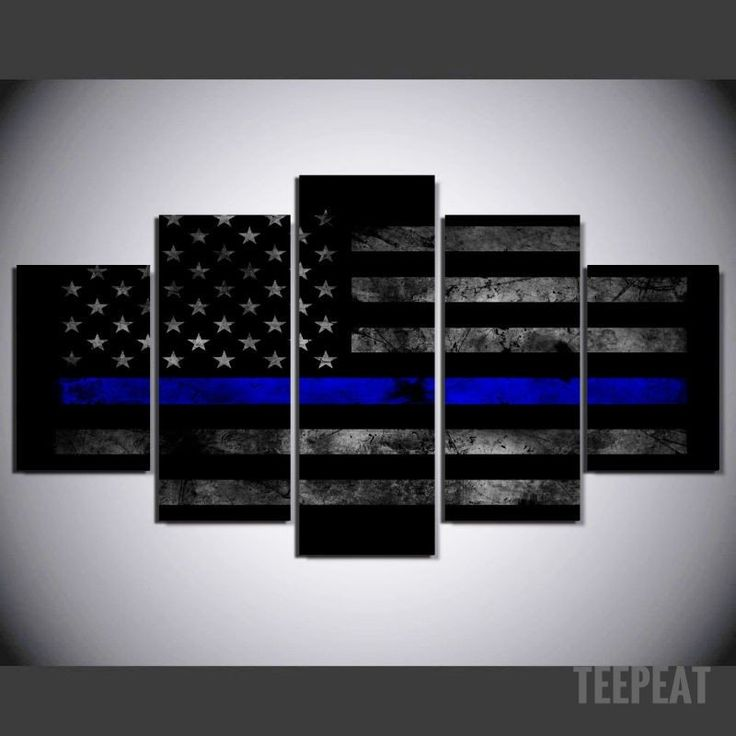 Police Flag 5 Piece Canvas Painting Frame Sizes