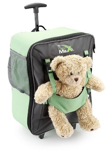 Cabin Max Bear Childrens luggage carry on trolley suitcase - greenPractical childrens trolley bag that is perfect for your next holiday with the kids. Features adjustable pants so that your child can seat their favourite teddy bear or doll at the front. Easy to pull trolley for a child 4+ which still has a great capacity of 34l. Internal pock, external side poct and bottle holder. Bag weight 1kg made of 600D polyester. Teddy Bear NOT INCLUDED. Th...