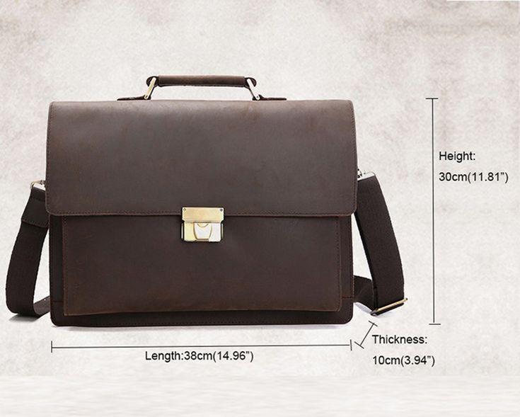 Brand Genuine <b>Crazy Horse</b> Leather 15' <b>Business</b> Briefcase ...