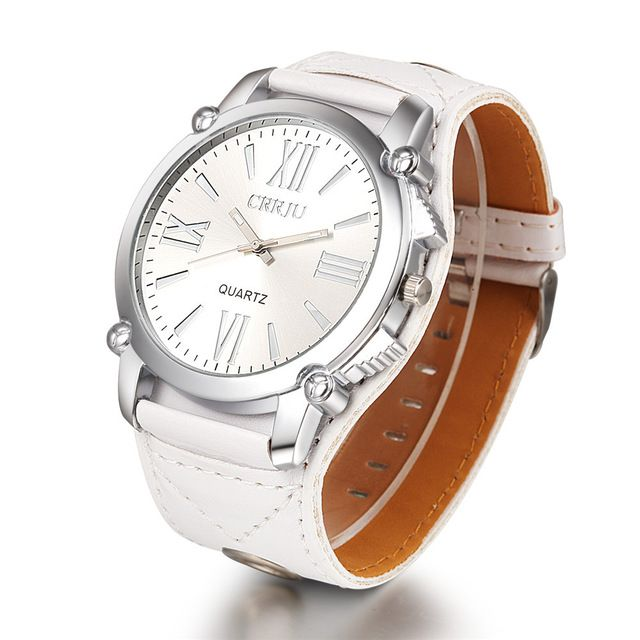 High Quality CRRJU Brand Leather Watch Women Ladies Fashion Dress Quartz Wristwatches Roman Numerals Watches Christmas gift