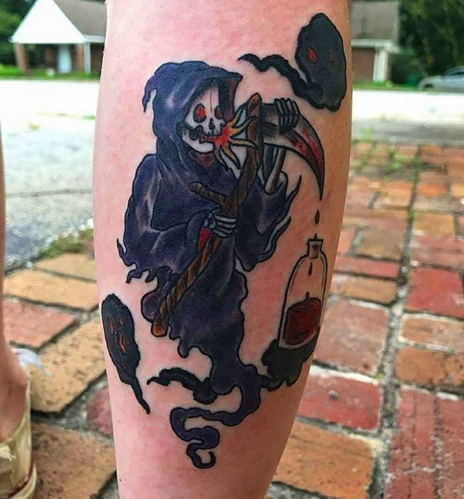 olio.tattoo Dragon Reaper Death Hourglass Comic Glass Tattoo by Chris from Permanent Ink Tattoo - Scottdale, GA #dragon #reaper #death #hourglass #comic #glass -- More at: https://olio.tattoo/tattoo-images/mentions:dragon