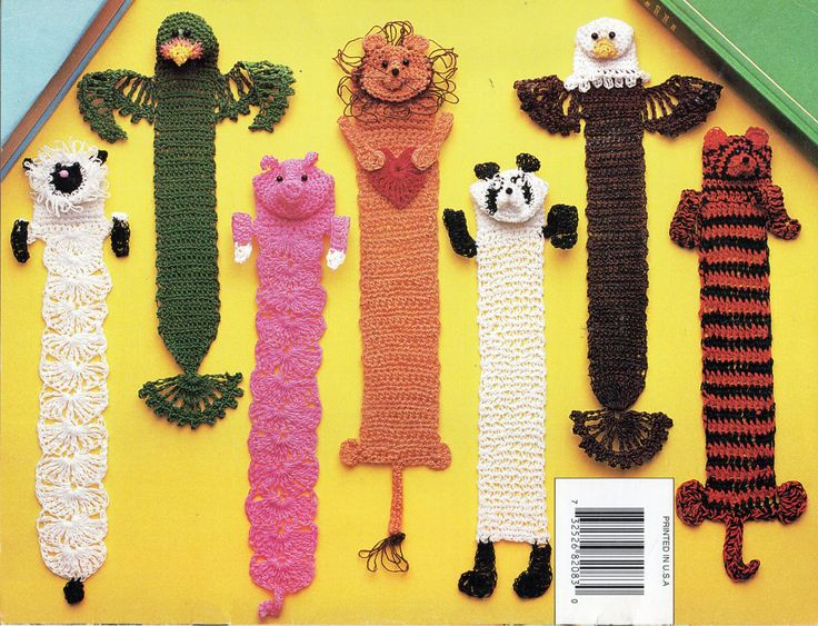 Crochet Bookmarks CROCHET PATTERN novelty animal bookmarks lion parrot eagle tiger lamb panda pig crochet cotton by Hobohooks on Etsy