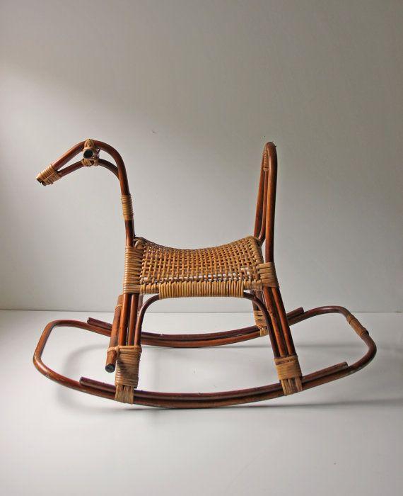 Modern Rattan Wicker Rocking Horse Home Nursery Decor Photo Prop Toy