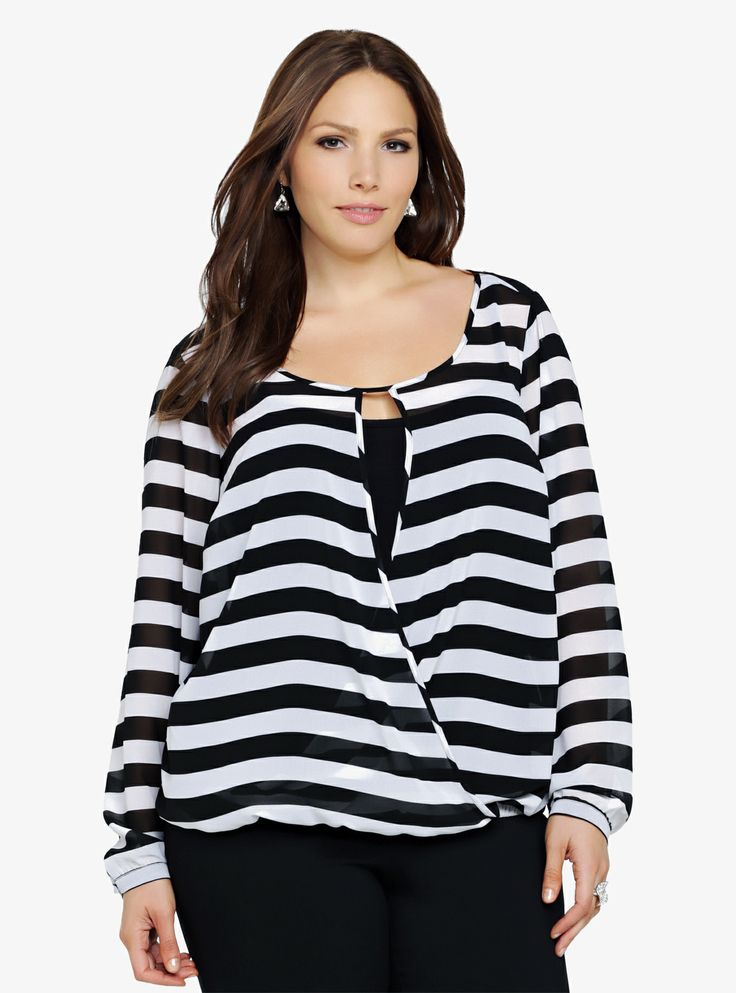 We're all about the high-impact graphic appeal of this black and white striped chiffon top. The front has a draping, crossover front with a keyhole that is both sexy and stylish.