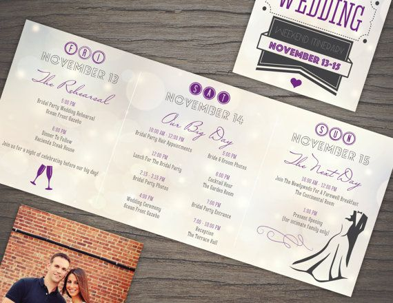 Wedding Weekend Itinerary Trifold  Custom by TheDesignBrewery