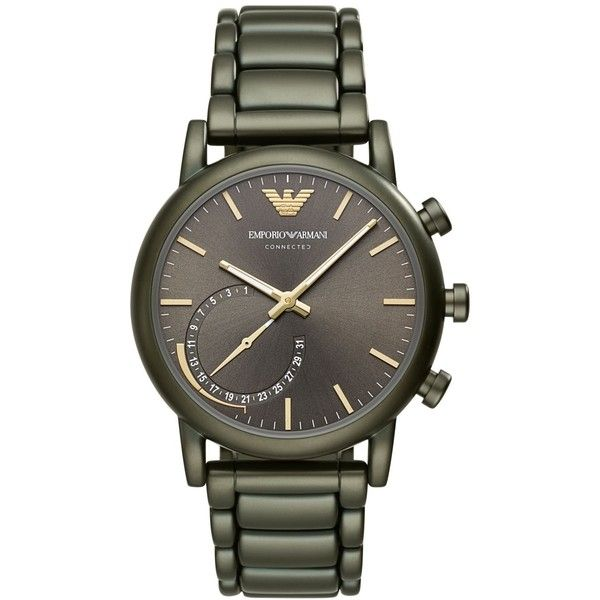 Emporio Armani Men's Connected Green Stainless Steel Bracelet Hybrid... ($345) ❤ liked on Polyvore featuring men's fashion, men's jewelry, men's watches, olive, mens green watches, mens stainless steel watches, emporio armani mens watches, mens watches jewelry and mens watches