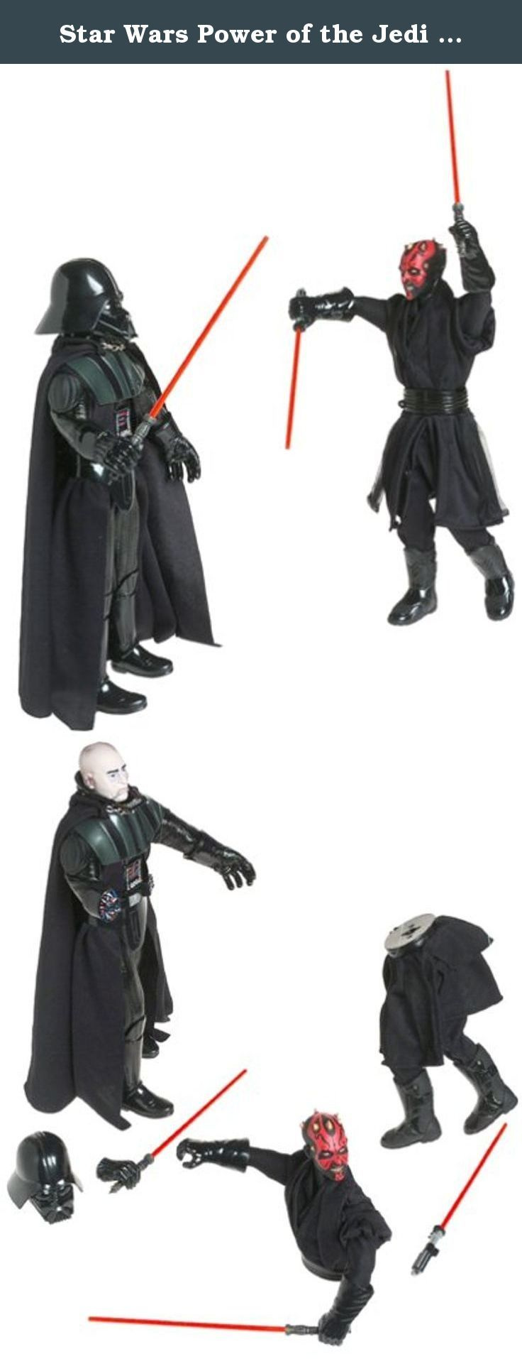 """Star Wars Power of the Jedi 12"""" Action Figure - Sith Lords - Darth Vader & Darth Maul 2-Figure Set. Star Wars 2000 Power of The Jedi 2 Pack 12 Inch Tall Action Figures Set - SITH LORDS - Darth Vader with Red Lightsaber, Helmet and Removable Right Hand Plus Darth Maul with Double-Bladed Lightsaber and Separable Body."""