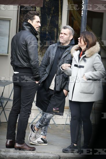 David Gandy, Barry Karakostas and his wife Julie Loizou see out in Notting Hill 28/02/2017