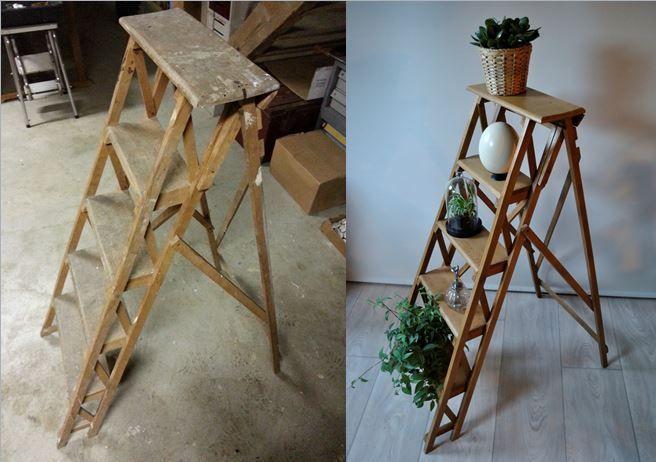 avant apr s ancien escabeau de peintre en bois decoration salon escabeau bois escabeau. Black Bedroom Furniture Sets. Home Design Ideas