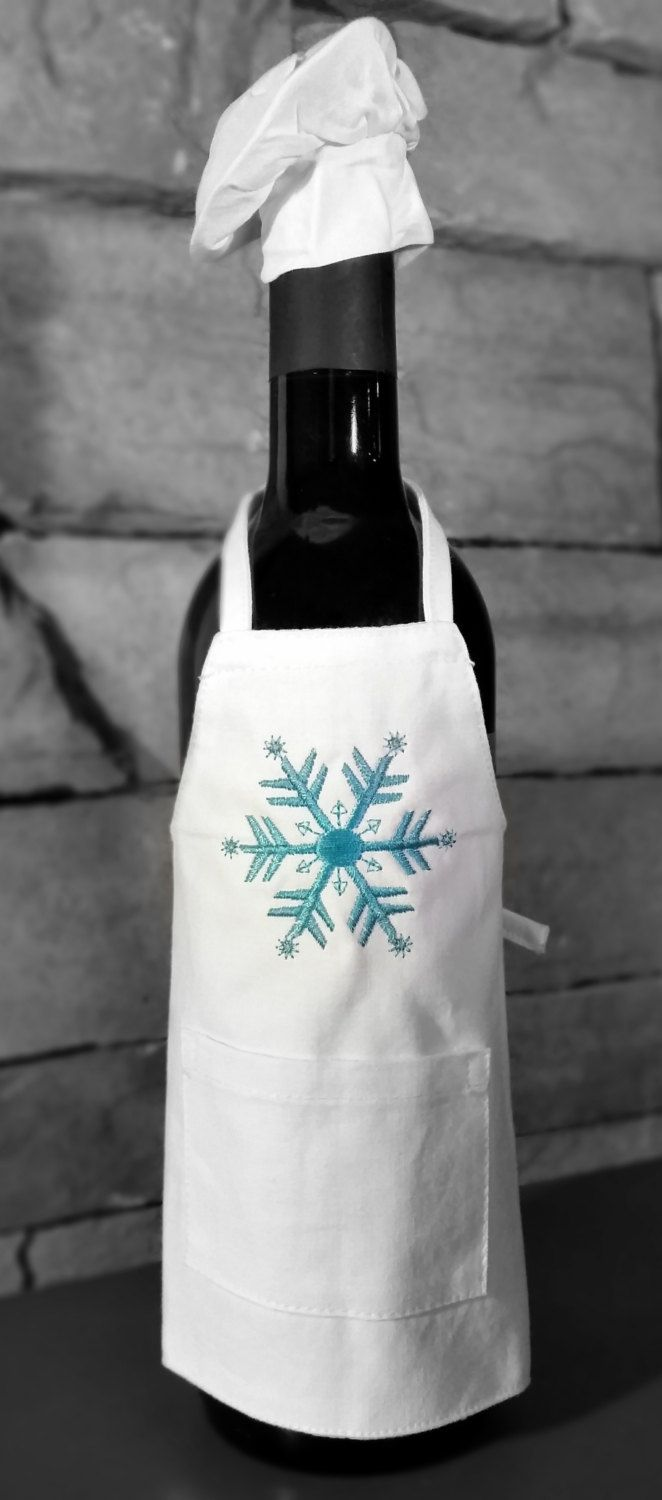 Christmas Wine Bottle Embroidered Apron & Chef's Hat - pinned by pin4etsy.com