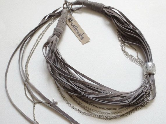 Suede Leather Necklace in Grey Taupe and Silver, Leather and Chains Necklace, String Statement Necklace, Leather Jewelry