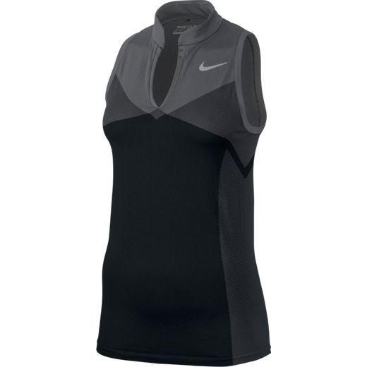 Nike Ladies Zonal Cooling Dri-FIT Knit Golf Black/Dark Grey Racerback Shirts at #lorisgolfshoppe