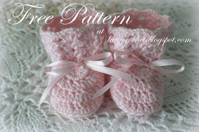 Lacy Crochet: Crochet Baby Booties, Size 0-6 Months, Free Pattern