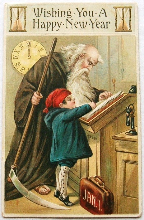 postcardiva postcard blog: Father Time & Baby New Year ...
