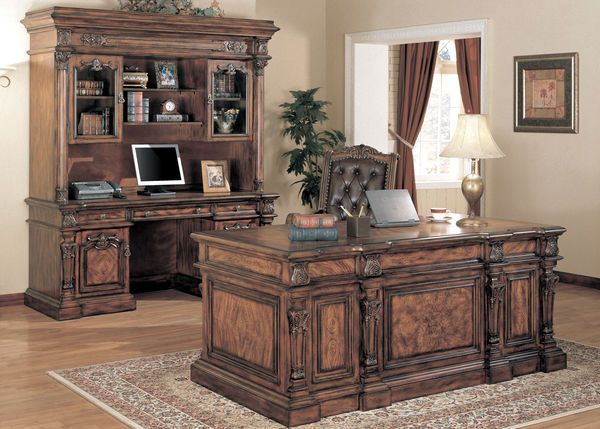Traditional Cherry Brown Solid Wood Executive Desk Office Furniture in Home  & Garden, Furniture, Desks & Home Office Furniture