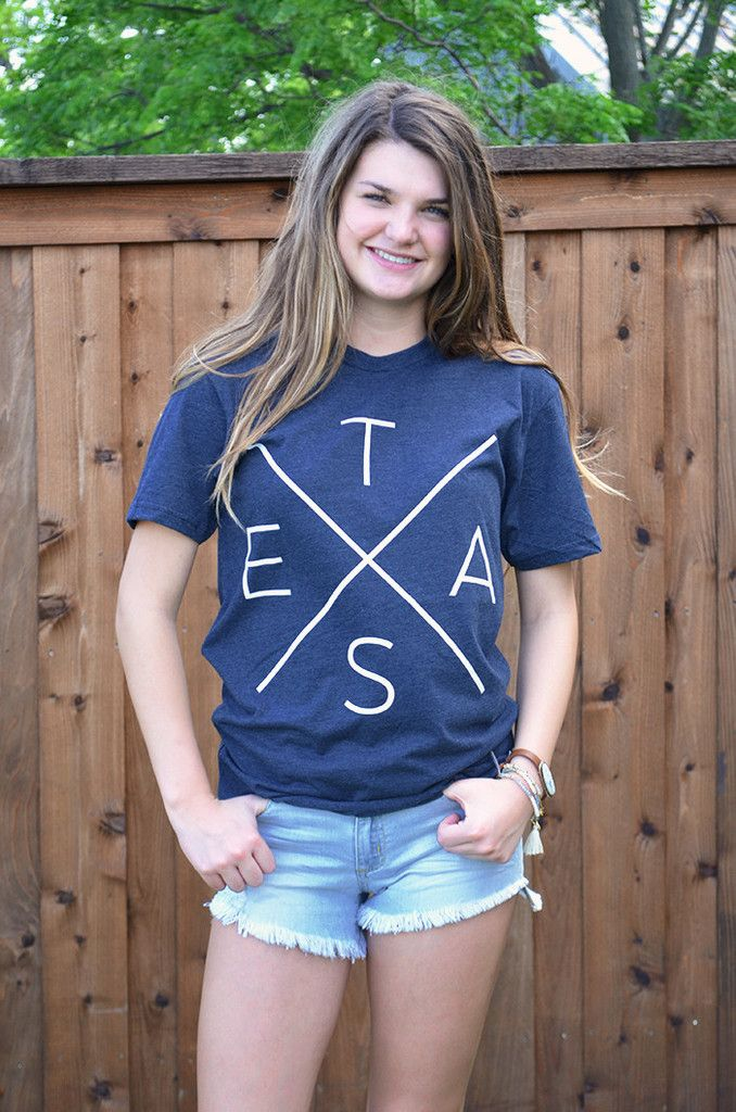 Tumbleweed Texstyles teXas Tee • $29.99 • Available at Groovys.com • texas X graphic t-shirt, heathered navy blue, white text