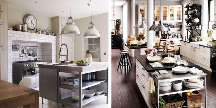 STÅL OG TREVERK: Miks og match materialer og overflater i kjøkkenet for den rette looken. Sats på åpne hyller, og store fabrikklamper.