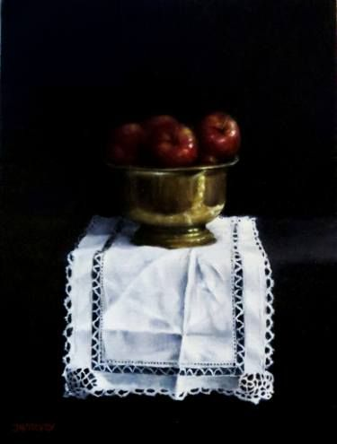 "Saatchi Art Artist Judith Harvey; Painting, ""Apples and Brass Bowl"" #art"