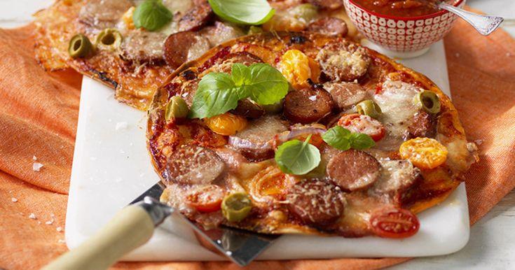 Snabb tacopizza med korv recept