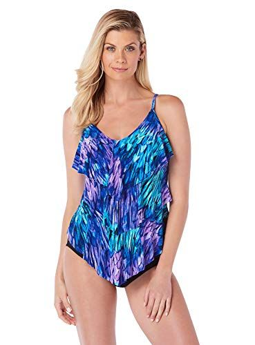 e31849aa7e7ae Magicsuit Women's Swimwear Ruffled Feathers Rita V-Neck Tankini Top with  Soft Cup Bra and